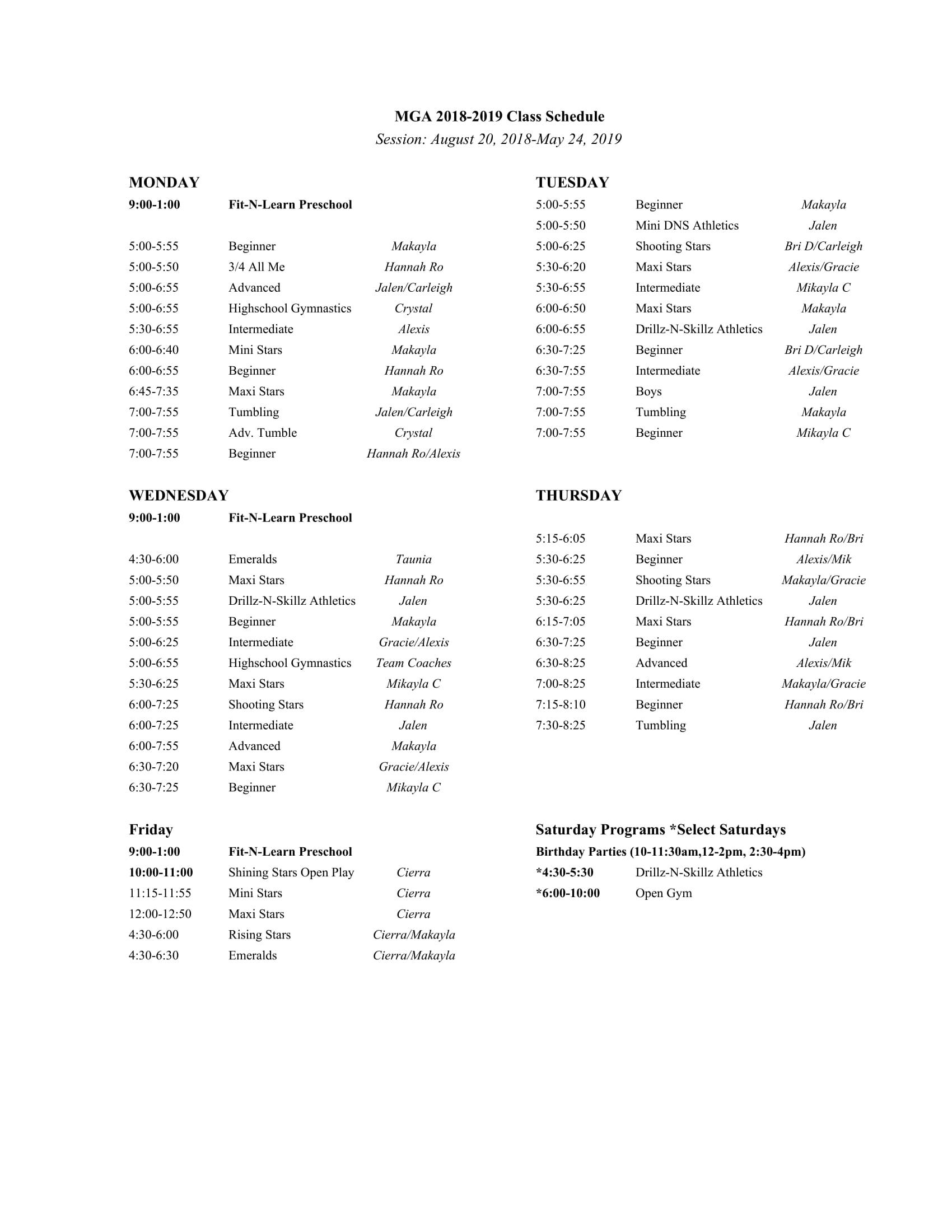 mga class schedule fall 2018-19