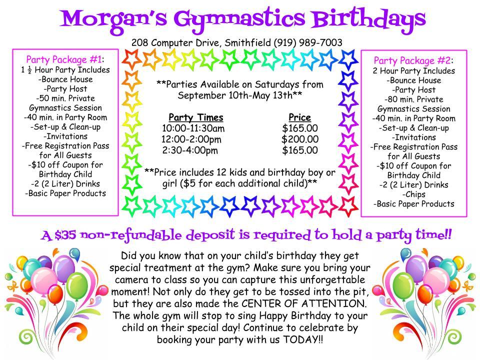 Birthday Parties Morgan's Gymnastics