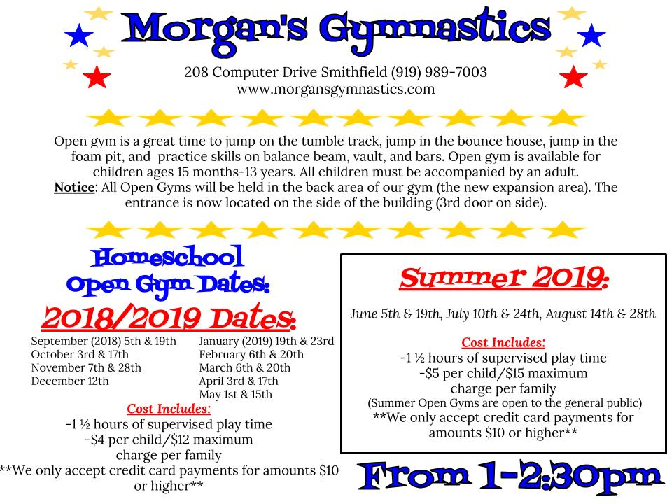 homeschool open gym schedule