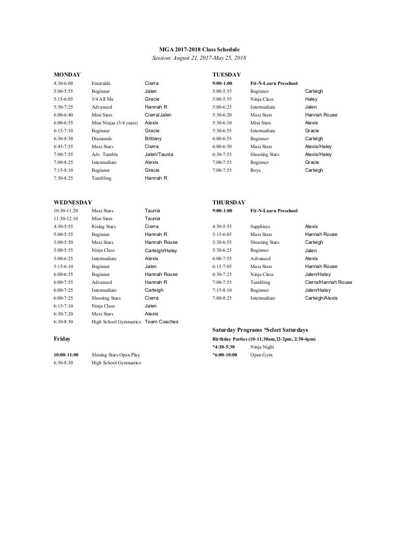 updated fall schedule