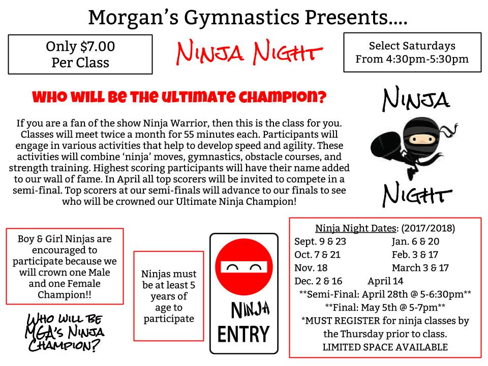 ninja night schedule